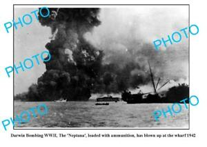OLD-6-x-4-PHOTO-WWII-BOMBING-OF-DARWIN-NEPTUNE-BLOWN-UP-AT-WHARF-1942