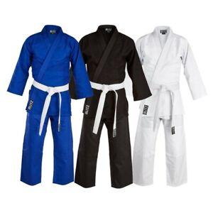 Belle Blitz Enfants Ou Adultes Tailles 100% Coton Étudiant Judo Suit Gi Blanc, Noir Ou Bleu-afficher Le Titre D'origine