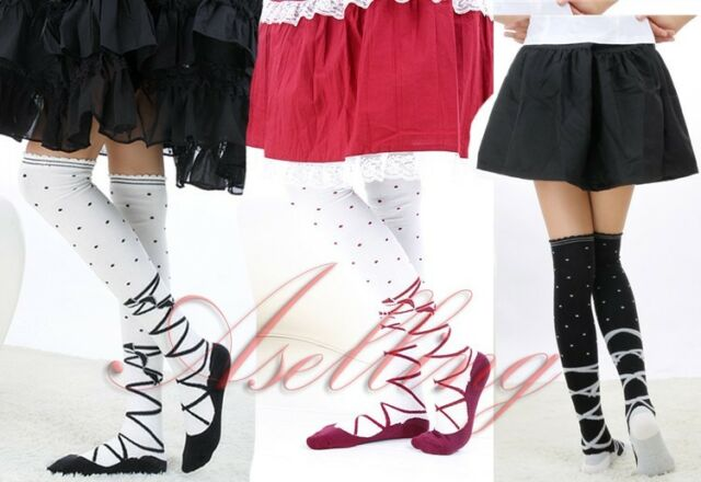 Japanese Girl Stripe Stockings Knee Cosplay lolita Socks Thigh-Highs Hose S454