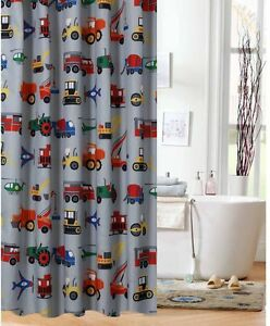 Shower curtain for boys fabric multi colored trains planes for Boys curtain material