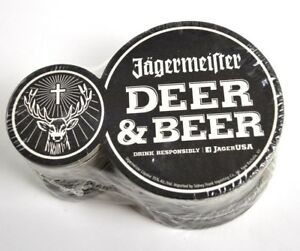 Jaegermeister-USA-Packung-mit-25-Bierdeckel-Untersetzer-schwarz-Deer-amp-Beer