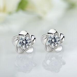 Blumen-elegante-Dame-Frauen-silberne-Kristallrhinestone-Ohrringe-Bo-Schmuck-Z4L0