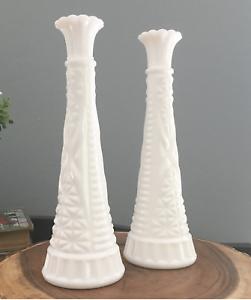 "Set of 2 Vintage Anchor Hocking 1071 Pressed White Milk Glass Bud Vase 9"""