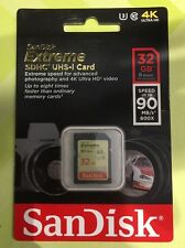SanDisk Extreme 32GB SD SDHC Class 10 Memory Card UHS up to 90 MB/s U3, V30 -New