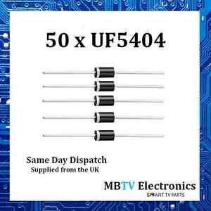 50-x-Vishay-UF5404-ultraveloci-Diodo-RADDRIZZATORE-IN-PLASTICA-400-V-3-A-1-V-150-A-150-C