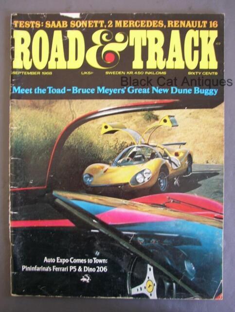 Original Vintage September 1968 Road & Track Magazine Volume 20  No. 1