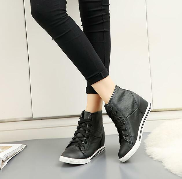 Women's Lace Up Wedge Hiden Heels Sneakers Athletic Casual Sports Fashion shoes