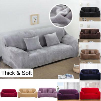 1-4 Sitzer Sofa Überwürfe Sofabezug Stretch Samt Sofahusse für Sofa Abdeckung DE