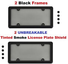 2 Universal Chrome License Plate Frames 8 Chrome Screw Caps New
