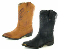 Ladies F50170 Tan Synthetic Mid Calf Boots By Spot On Retail Sale £25.00