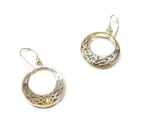 Handmade 925 Sterling Silver open Celtic Moon Drop Earrings 33 mm x 20 mm