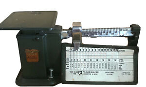 Vintage 40s Triner Air Mail Accuracy Scale Green Metal Postal 9 Oz Chicago IL~EC