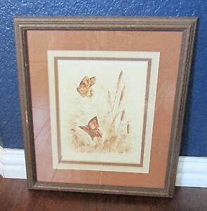 Framed-Matted-Butterfly-Watercolor-Brown-Signed-B-Lebar