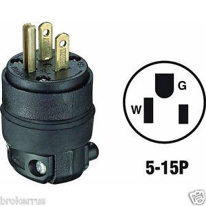 3 wire 2 pole grounded plug round black rubber 15a 125v 5 15p male rh ebay com