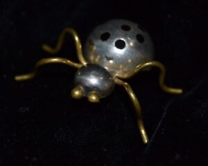 Vintage-Sterling-925-Two-Tone-SPIDER-Pin-Brooch-Mexico-Bug-Signed-Enamel-Spots