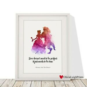 Disney Princess Gift ART PRINT Beauty and the Beast Dance Quote illustration