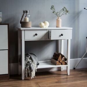 Windsor-2-Drawer-Console-Table-Shelf-Hallway-Side-End-Dressing-Table-Desk-White