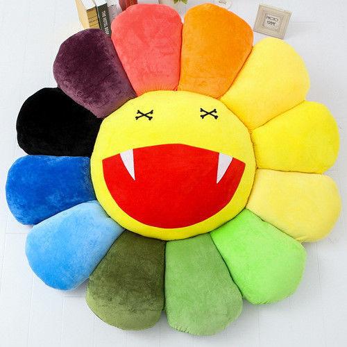 hot Takashi Murakami KiKi Ohaha Rainbow Flower Plush Cushion KaiKai Large Pillow