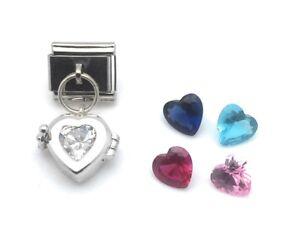 Dangle-Heart-Italian-Charm-Locket-CZ-Sterling-Silver-9-mm-Stainless-Steel-Link