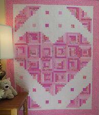 Loving Heart Quilt Pattern ~FAST~VERY EASY~Scraps~ #441 log cabin