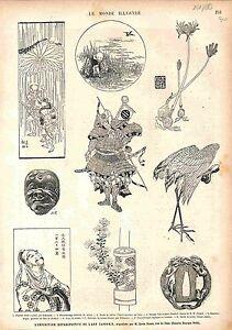 Japanese-Art-Japonais-Japon-Japan-Exposition-GRAVURE-ANTIQUE-PRINT-1883