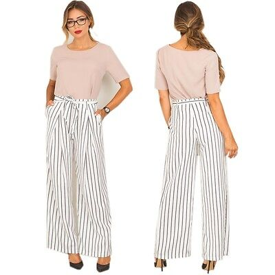 Summer Women Vintage High Waist Striped Belted Wide Leg Palazzo Pants Trousers