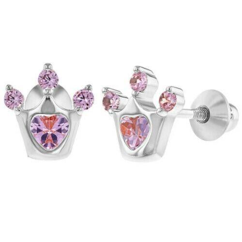925 Sterling Silver Cubic Zirconia Princess Crown Screw Back Baby Girl Earrings