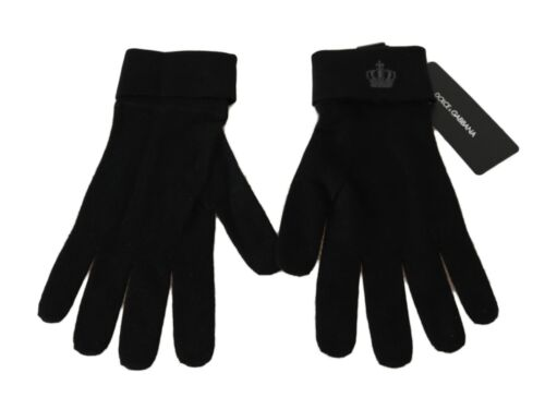 M RRP $300 DOLCE /& GABBANA Gloves Black 100/% Cashmere Knitted Crown Logo s