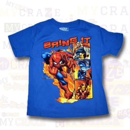 SPIDERMAN Marvel Bring It Iron Man Blue Boys Kids Youth T-Shirt