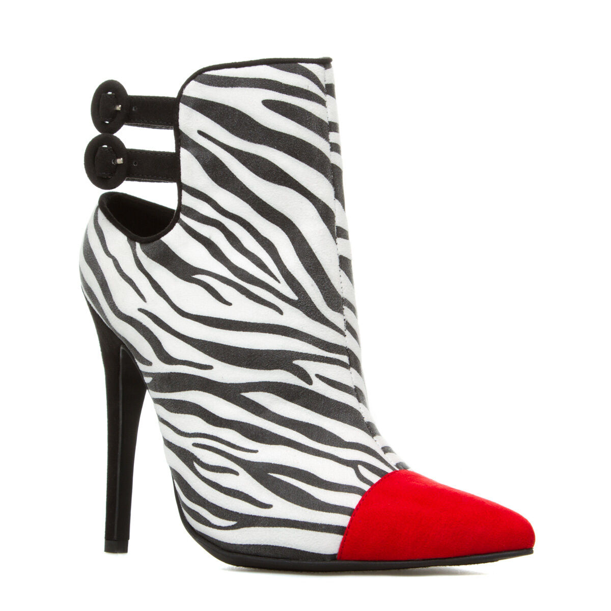 NEW Suede Zebra-Print Bootie Heel w/ Pointed-Toe & Adjustable Ankle Strap Sz 7.5