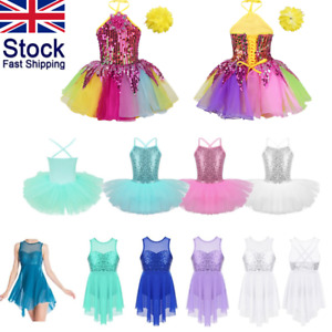 UK-Kid-Girl-Modern-Jazz-Sequin-Dance-Dress-Ballet-Leotard-Tutu-Dancewear-Costume