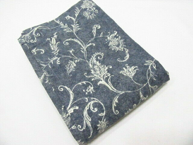 Modern Country Floral Paisley Botanical Navy Blue Cotton Fabric