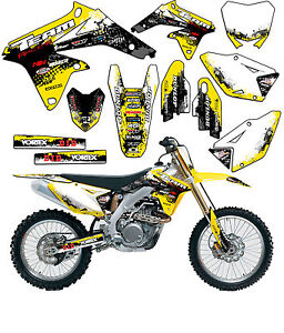 2007-2009 SUZUKI RMZ 250 GRAPHICS STICKER KIT RMZ250 ROCKSTAR WHITE GOLD DECAL