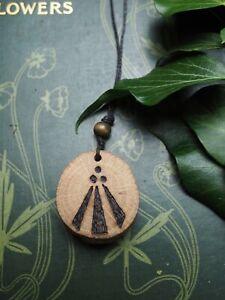 English Oak Wood Awen Pendant - for Strength & Courage - Pagan, Druidry