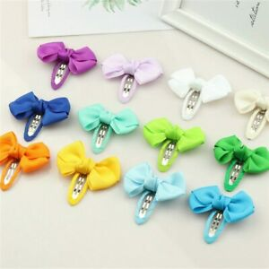 Hair accessories Girls kids Baby bow children Ribbon Pair hair clips sides snaps