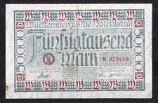 Wurttemberg banco central de stuttgart - 50-mil 50000 mark 1923 Notgeld