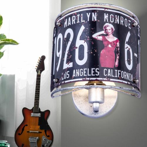Retro Wand Lampe Metall Leuchte Spot Antik silber Dekor Monroe Wohn Zimmer Flur