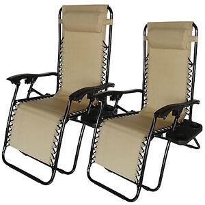2pc Zero Gravity Lounge Beach Chairs Patio Chair Folding