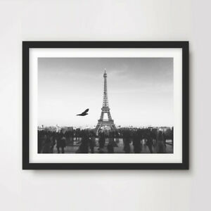 Black White Eiffel Tower Paris Horizon Photograph Art Print Decor