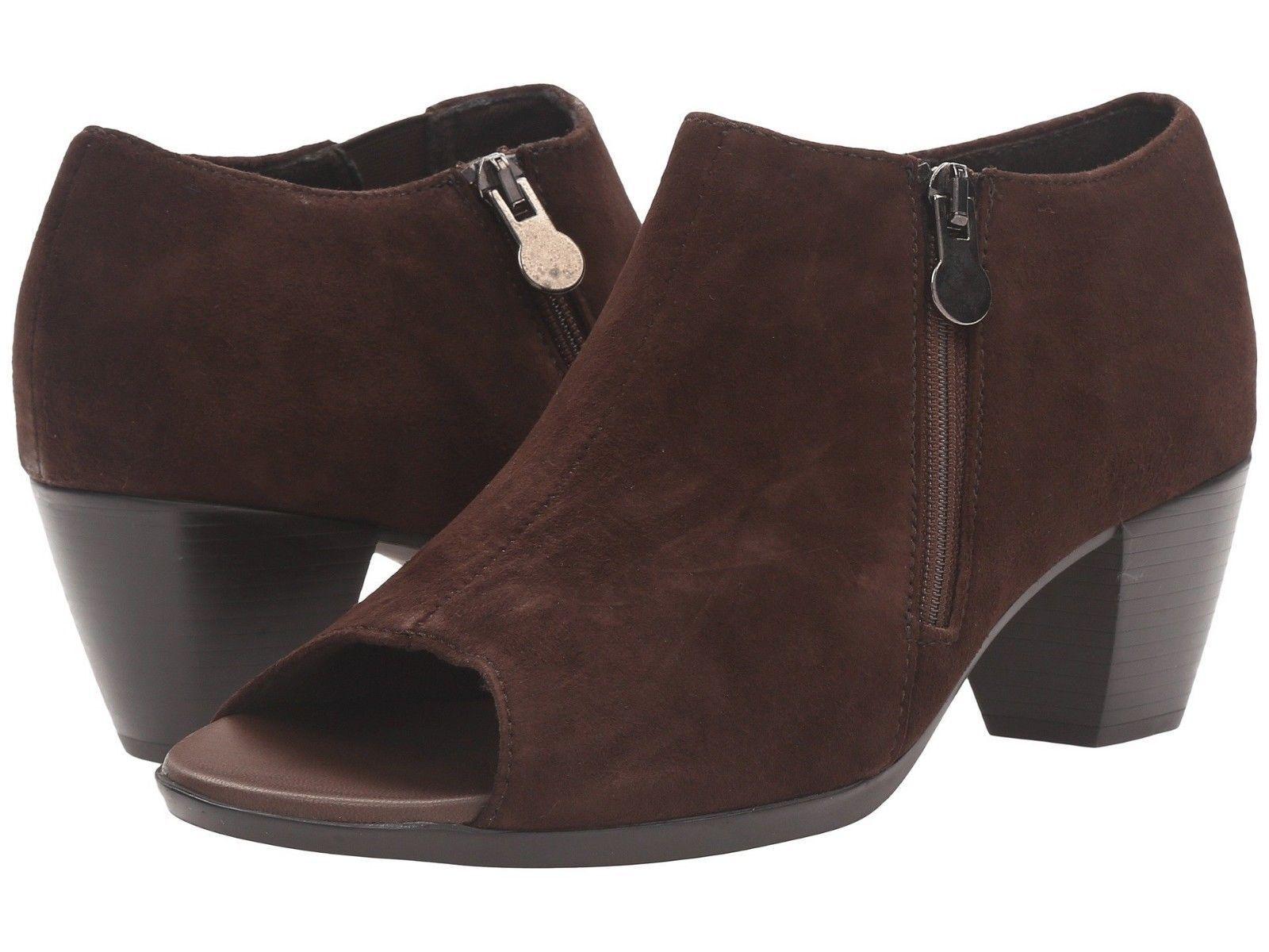 NEW Munro Luisa Bittersweet Brown Suede Peep Toe Boots, Women Size 9.5 W