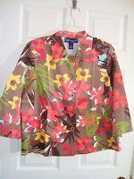 Susan Graver Brown/multi Bright Print Stretch Satin Short Jacket L