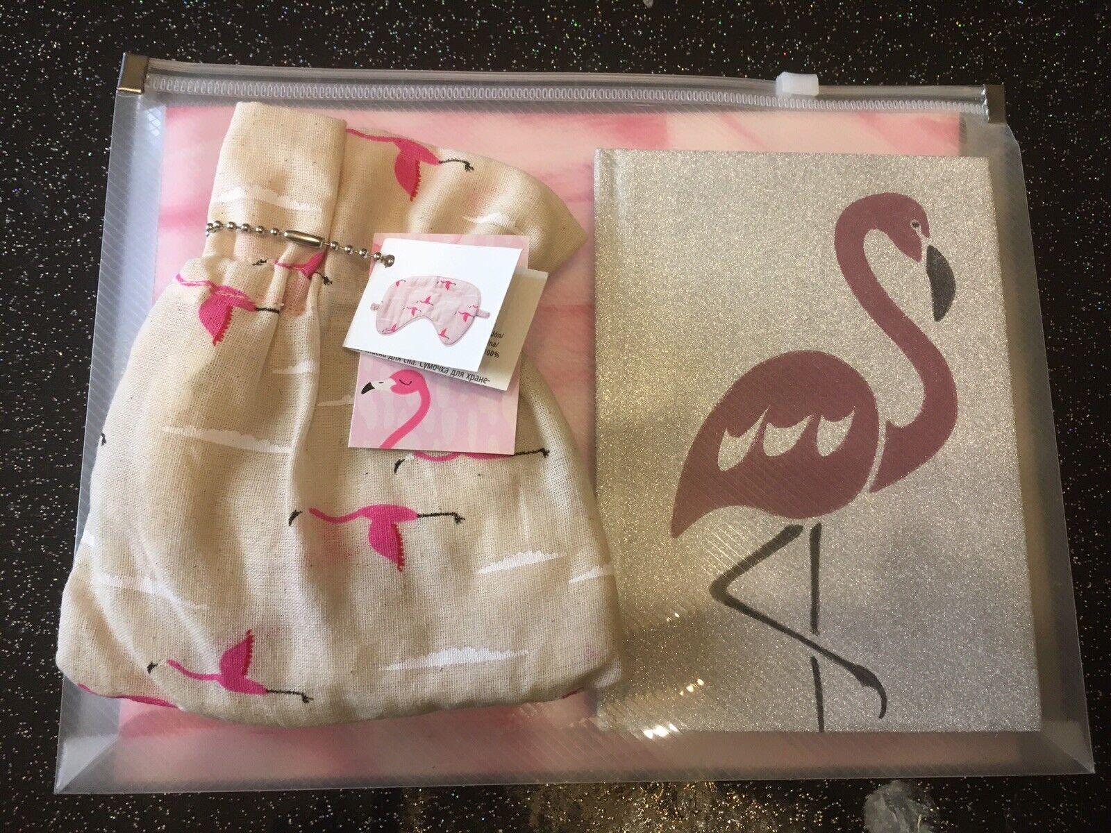 Fab Flamingo Eye Mask +A6 Hardback Glitter Notebook In Sheer Pouch 3pc Gift Set