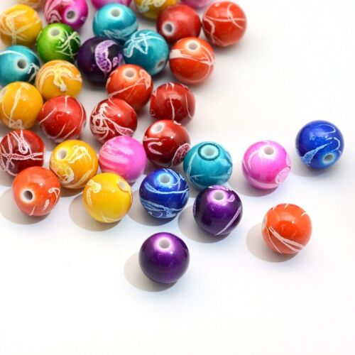 Acrylic Beads Heart Random Mix 17mm Drawbench Painted 20 Pieces