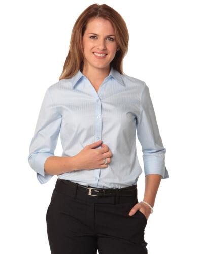Benchmark Ladies/' Self Stripe 3//4 Sleeve Shirt Open Neck 60/% Cotton Back Split