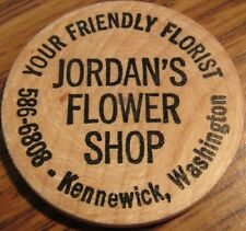 Vintage Jordan's Flower Shop Kennewick, WA Wooden Nickel - Token Washington Wash