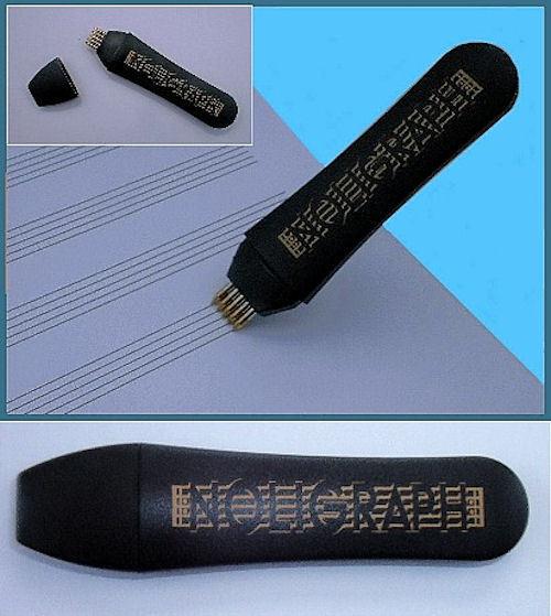 2x Noligraph: Notenlinienschreiber mit 5 Kugelschreiberminen auswechselbar