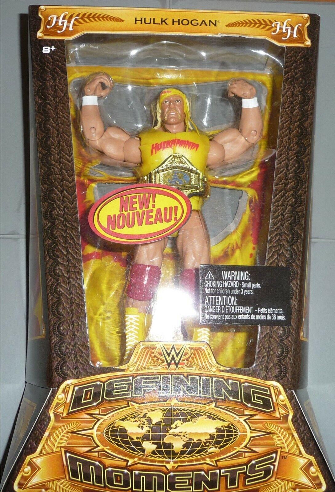 Hulk Hogan Wwe Mattel Definición de momentos Elite Figura Rara paquete canadiense francés