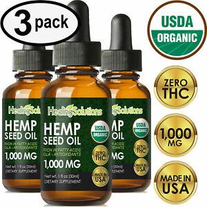 Premium Hemp Oil Drops for Pain Relief, Stress, Keto, Anxiety, Sleep (3 PACK)