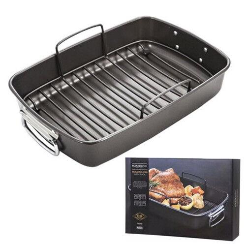 100% Genuine! MASTERPRO Non-stick Roasting Pan with Rack 40 x 28 x 7.5cm Black!