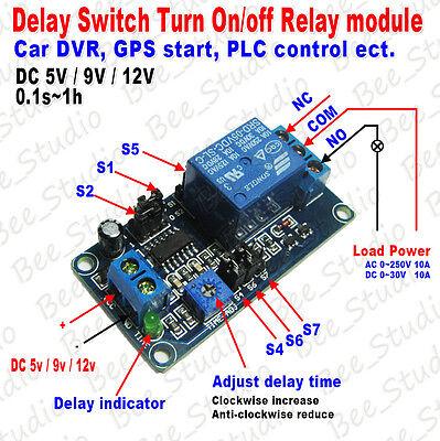 DC 5V 9V 12V Adjustable Delay Timing Timer Relay Switch Delay Turn On Off Module